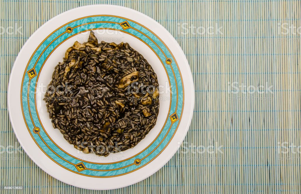 Black rice plate stock photo