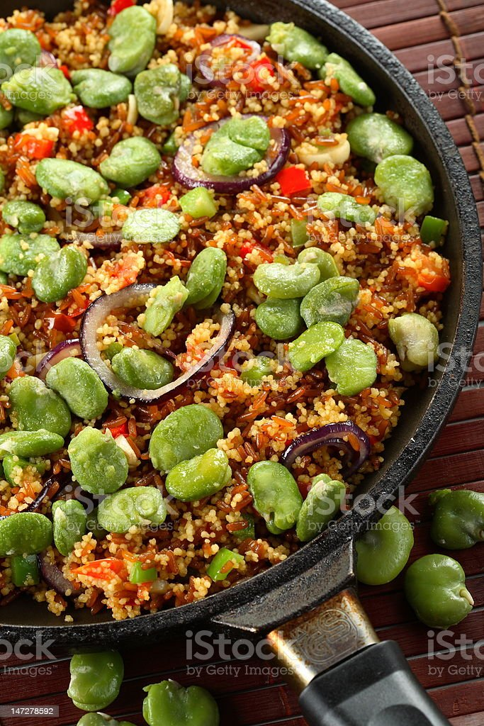 Black rice with vetiver and vegetables royalty-free stock photo