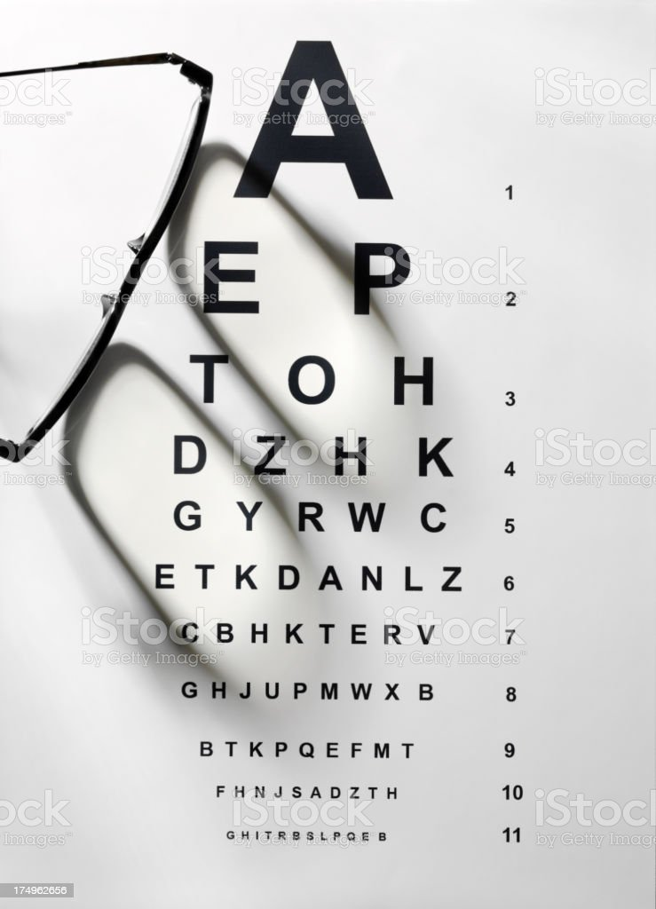 Black Rimed Spectacles on a Eye Test Chart stock photo