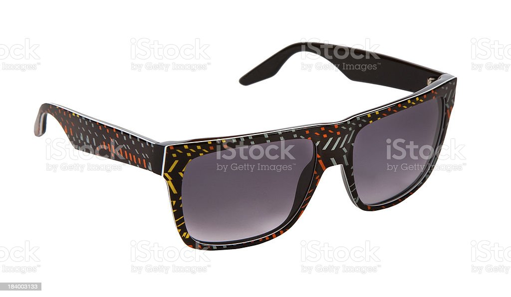 Black rimmed sunglasses with colorful confetti pieces stock photo