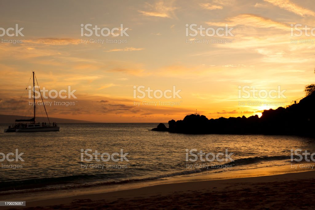 Black Rock at Kaanapali Beach sunset, Maui, Hawaii stock photo