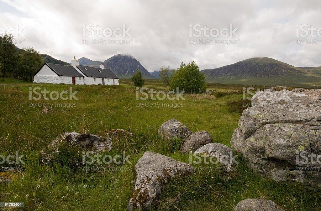 Black Rock Cottage in Glencoe, Scotland. stock photo