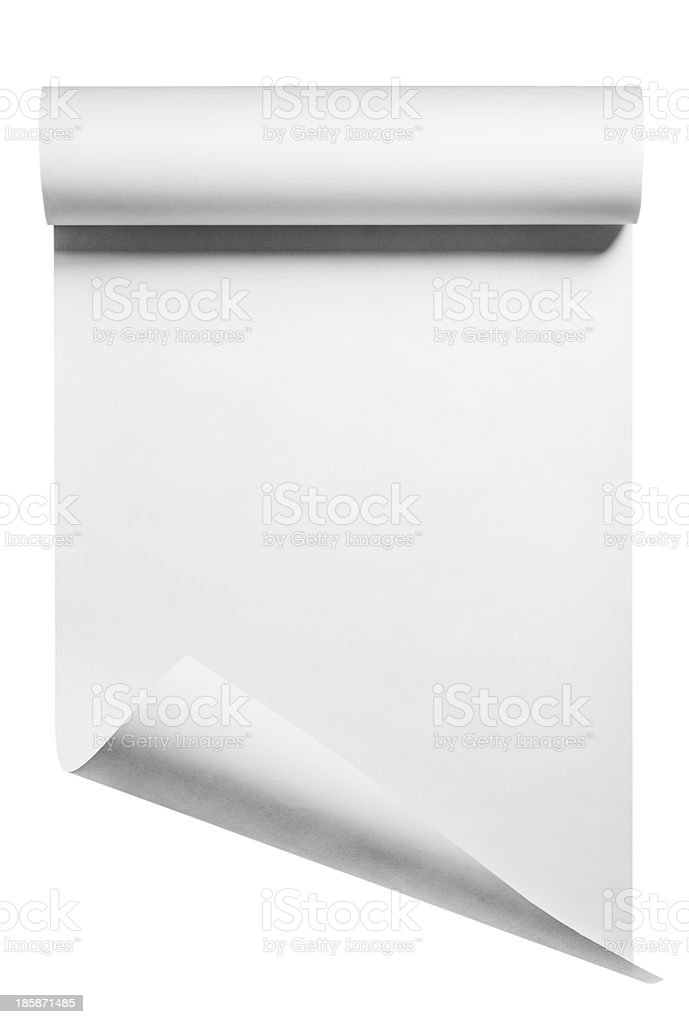 Black roll of white paper on white background stock photo