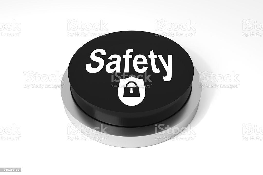 black round button safety  protection symbol stock photo