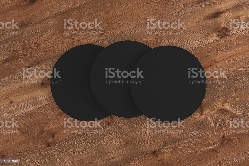 Black round coasters. stock photo