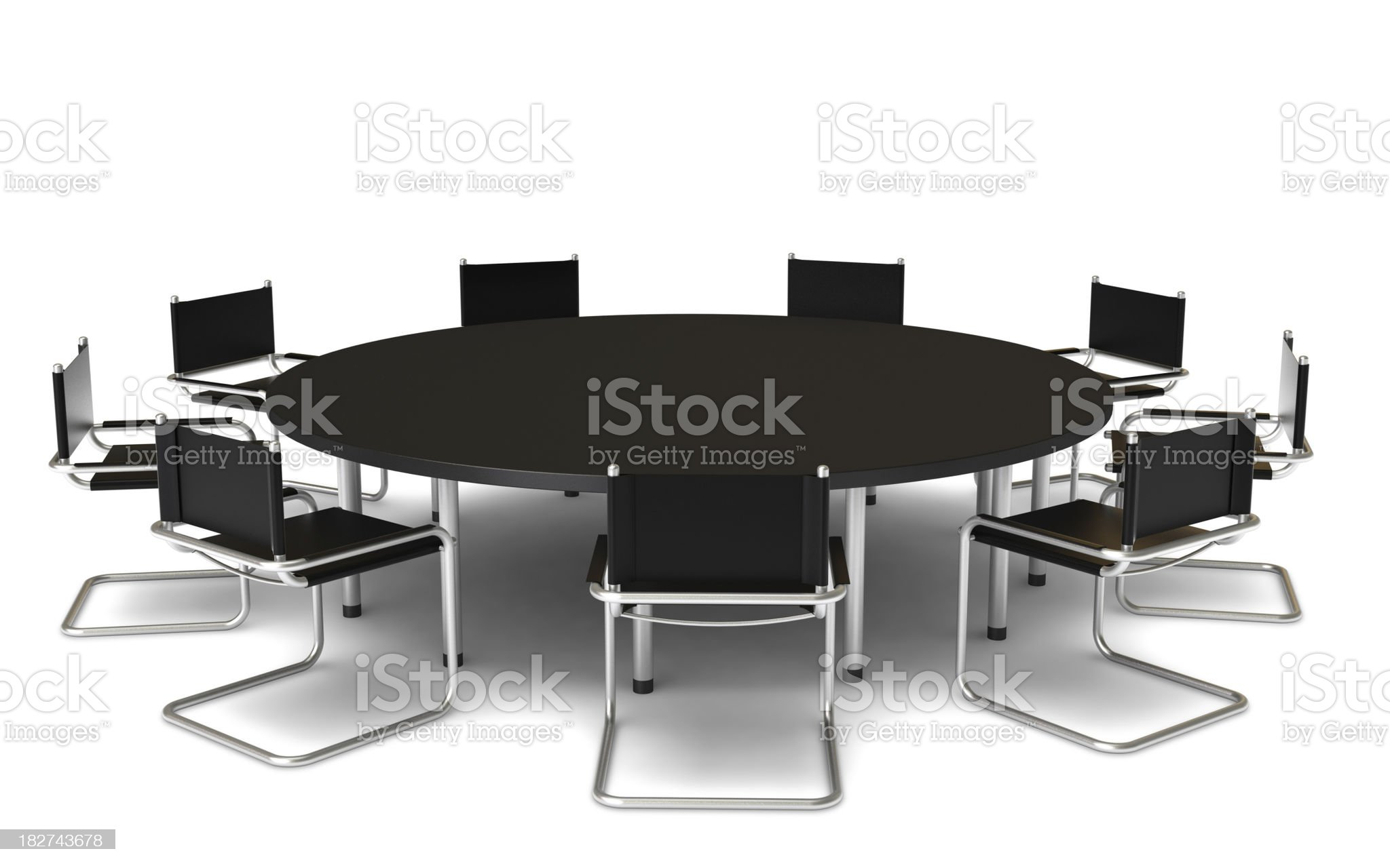 Black Round conference table with nine chairs royalty-free stock photo