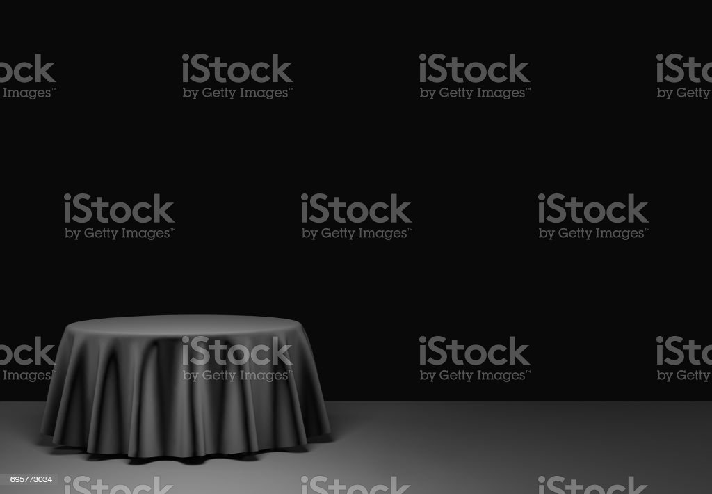 Black round podium in the scene. 3d render stock photo