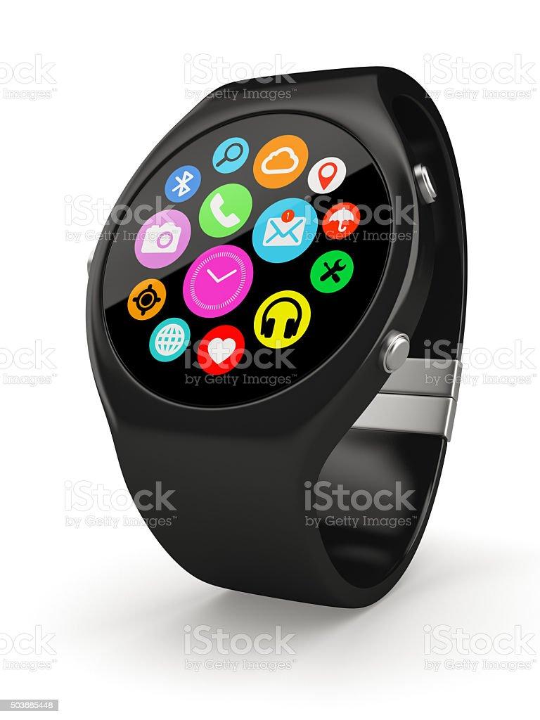 Black round smart watch on white background stock photo