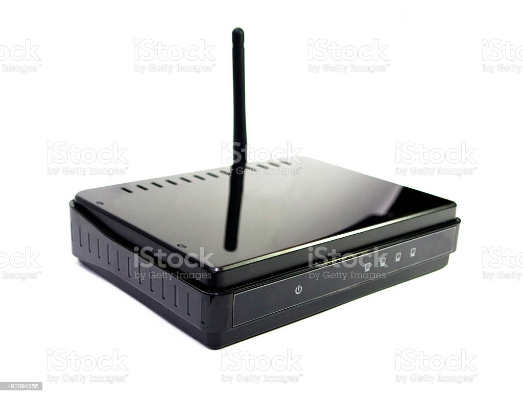 Black router with antenna on white background stock photo