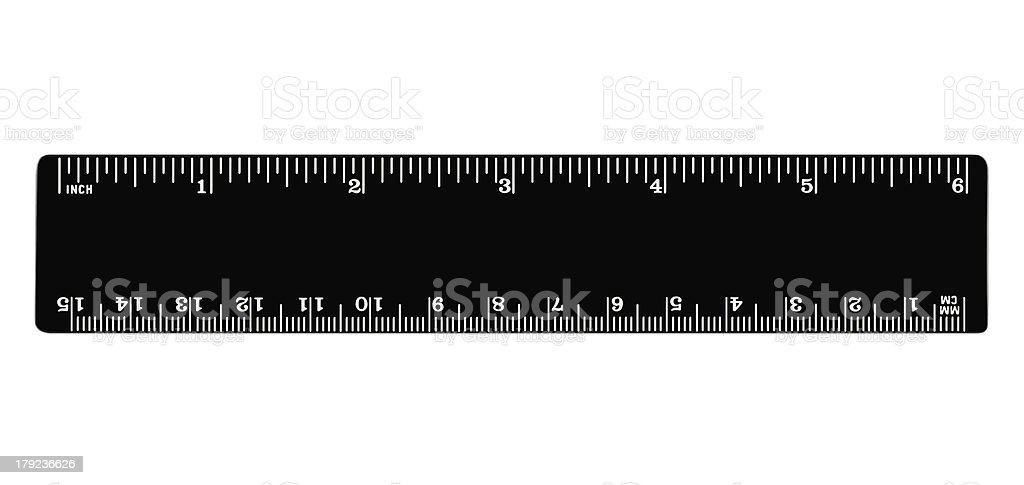 Black ruler isolated, inches, centimeters, milimeters, imperial metric length units royalty-free stock photo