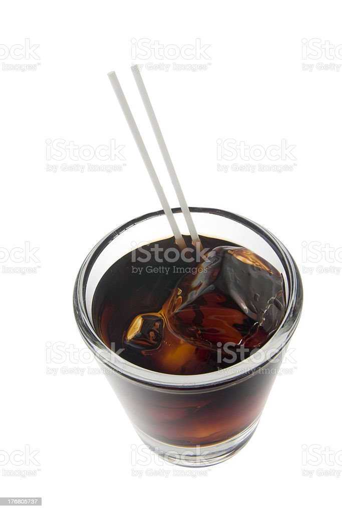 Black Russian cocktail on a white background stock photo