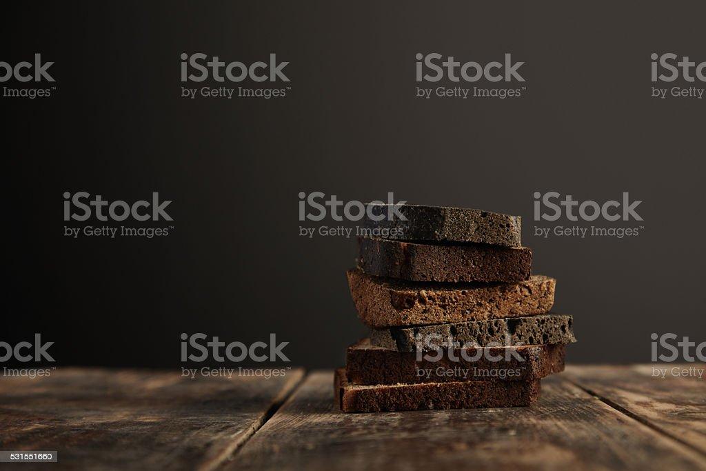 Black rye bread set stock photo