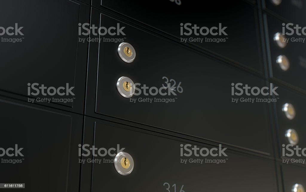 Black Safe Deposit Box Wall stock photo