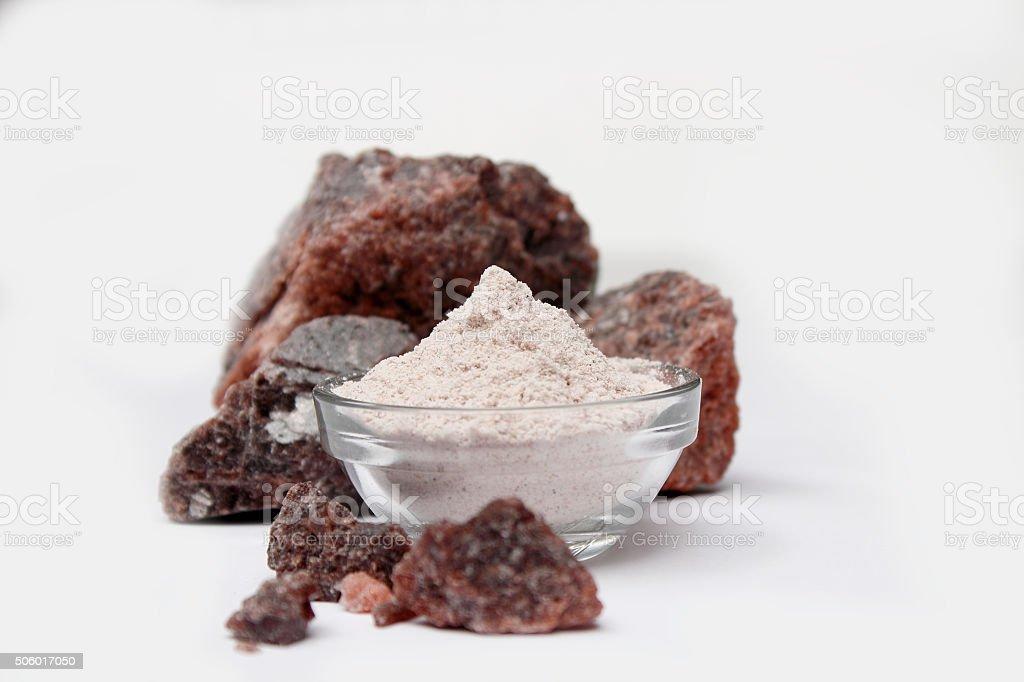 Black Salt - Indian spice powders stock photo