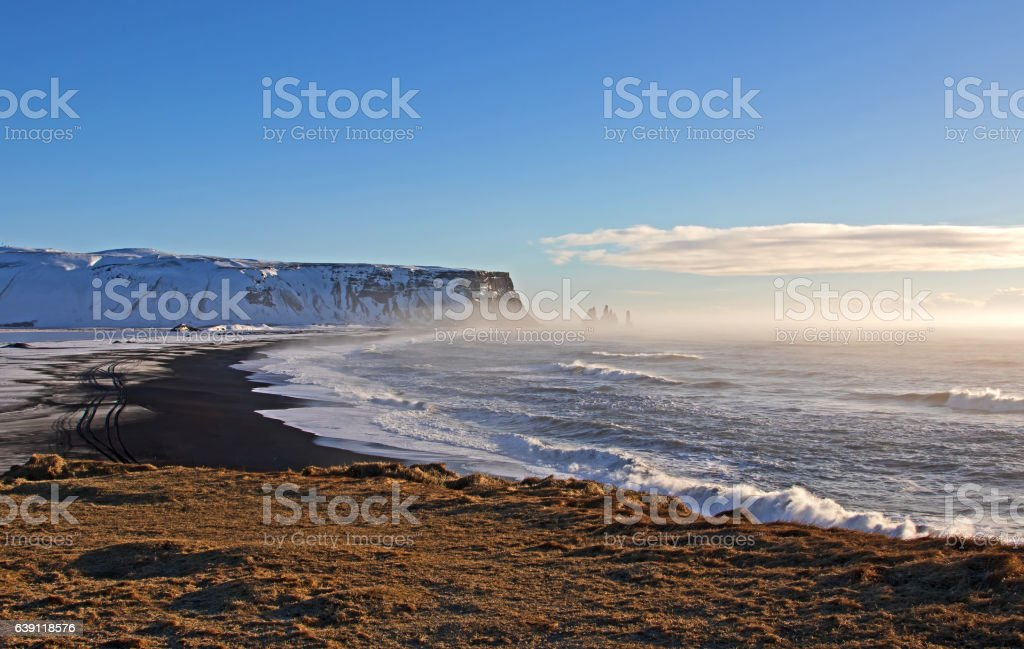 Black Sand Beach, Dyrholaey, Iceland stock photo