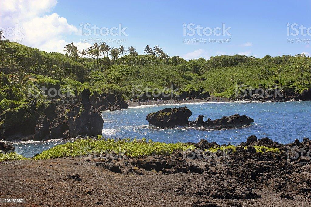 Black Sand Beach - Hana, Maui stock photo