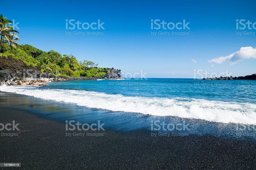 Black Sand Beach Honokalani Wainapanapa Maui Hawaii stock photo