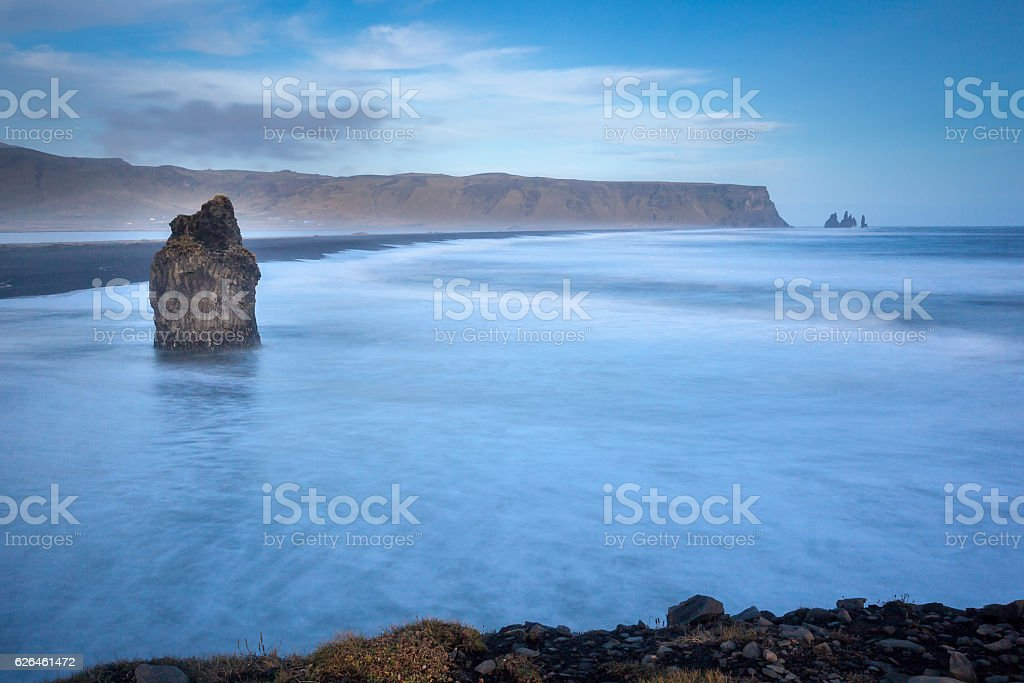 Black Sand Beach In Iceland stock photo