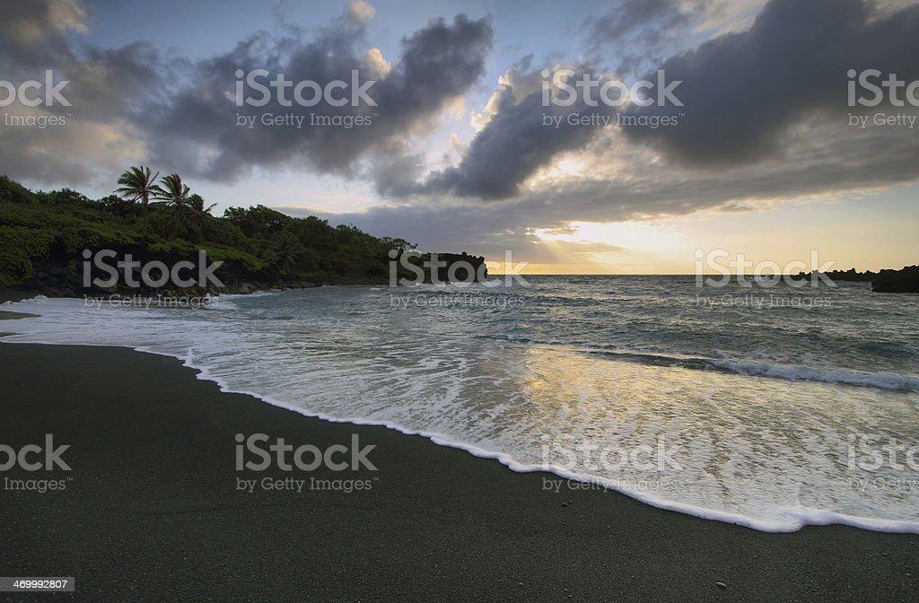 Black sand beach in Waianapanapa State park royalty-free stock photo