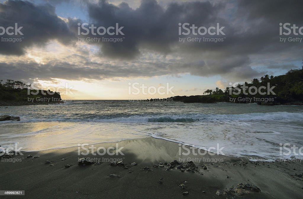 Black sand beach in Waianapanapa State park stock photo