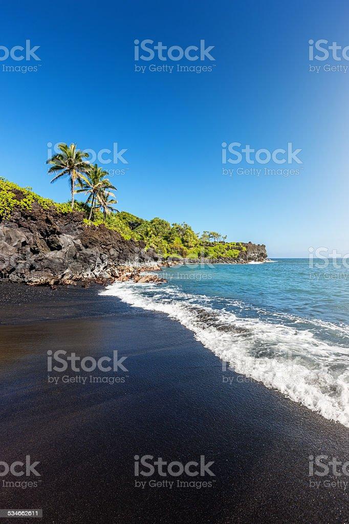 Black Sand Beach Maui Hawaii Honokalani Wainapanapa stock photo