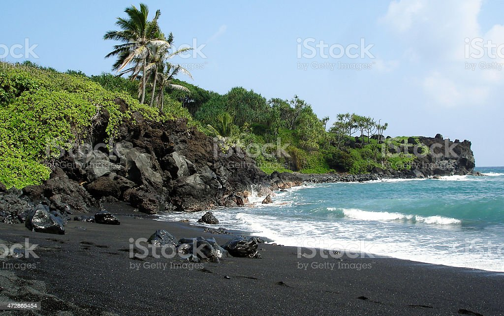 Black sand beach on Maui stock photo