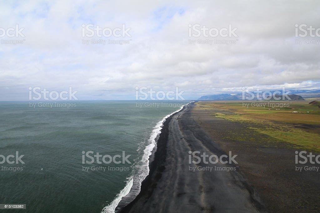 Black sand beach panorama stock photo