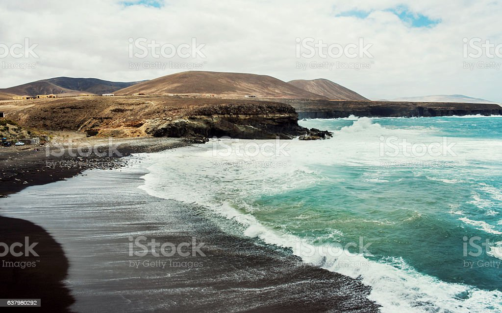Black sand beach stock photo