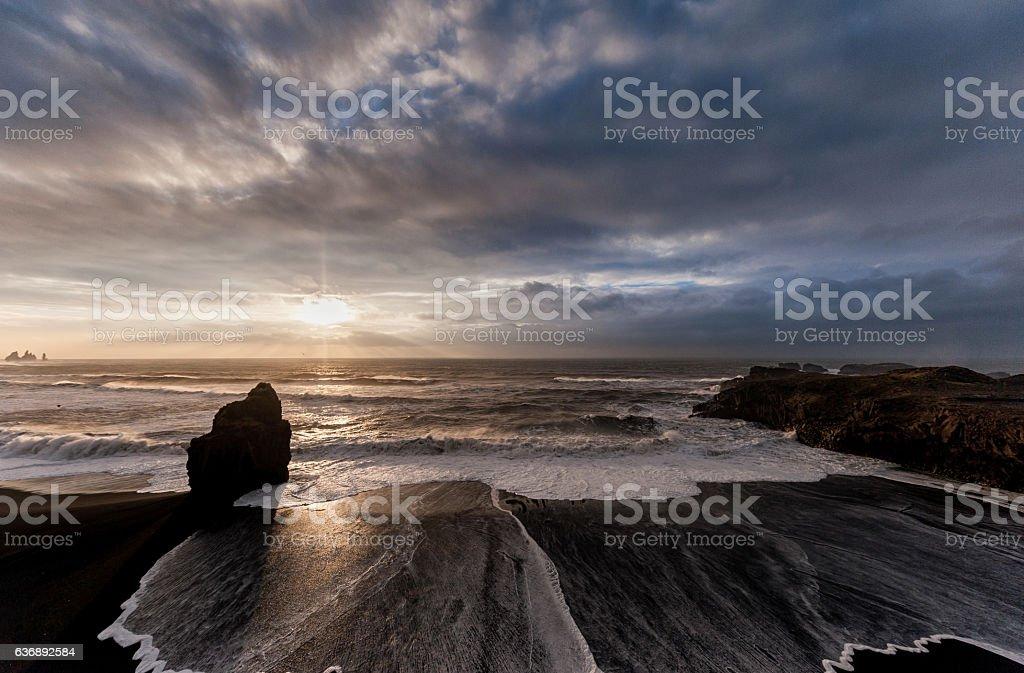 Black Sand Beach Reynisfjara in Iceland stock photo