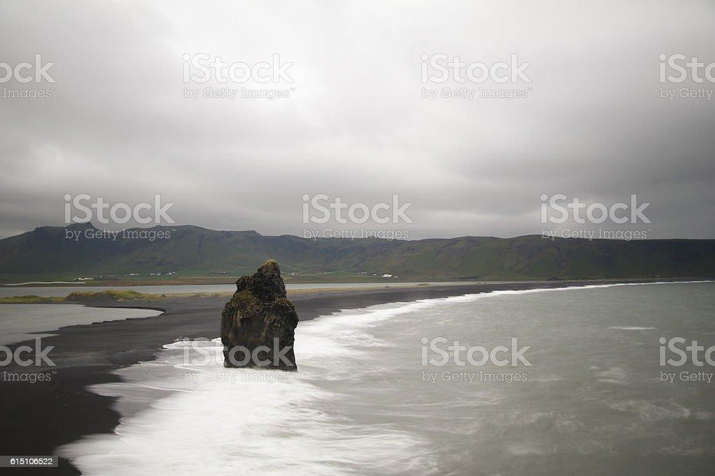Black sand beach seascape, Iceland stock photo