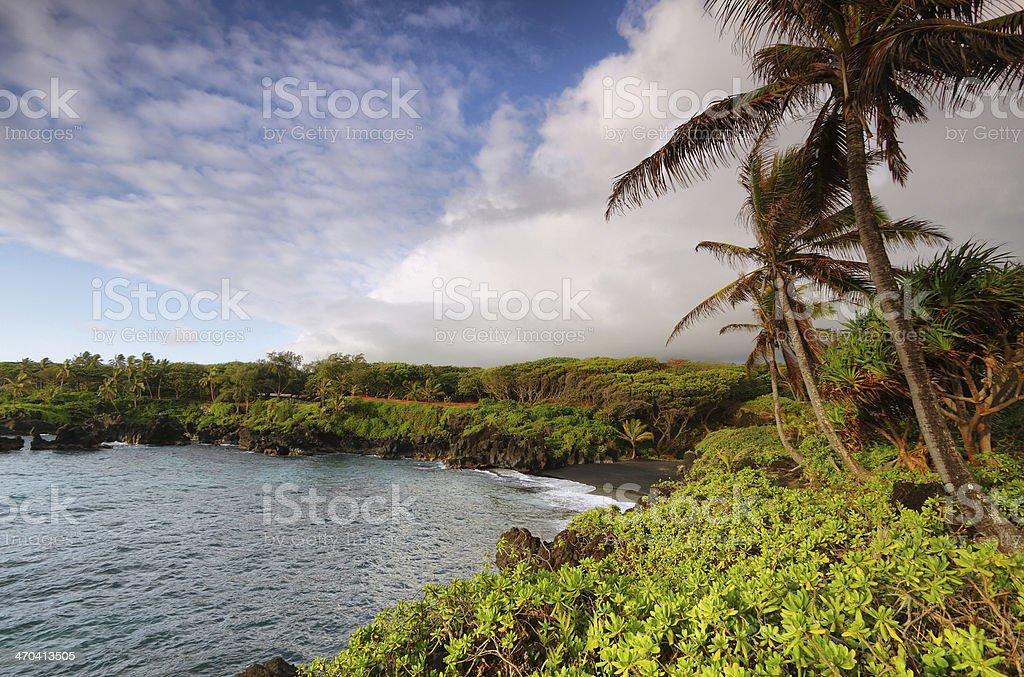 Black sand beach views in Waianapanapa State park royalty-free stock photo