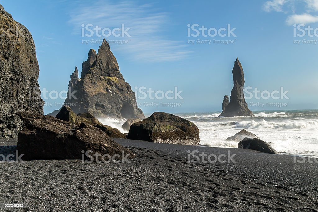 Black sand beach, Vik Iceland stock photo