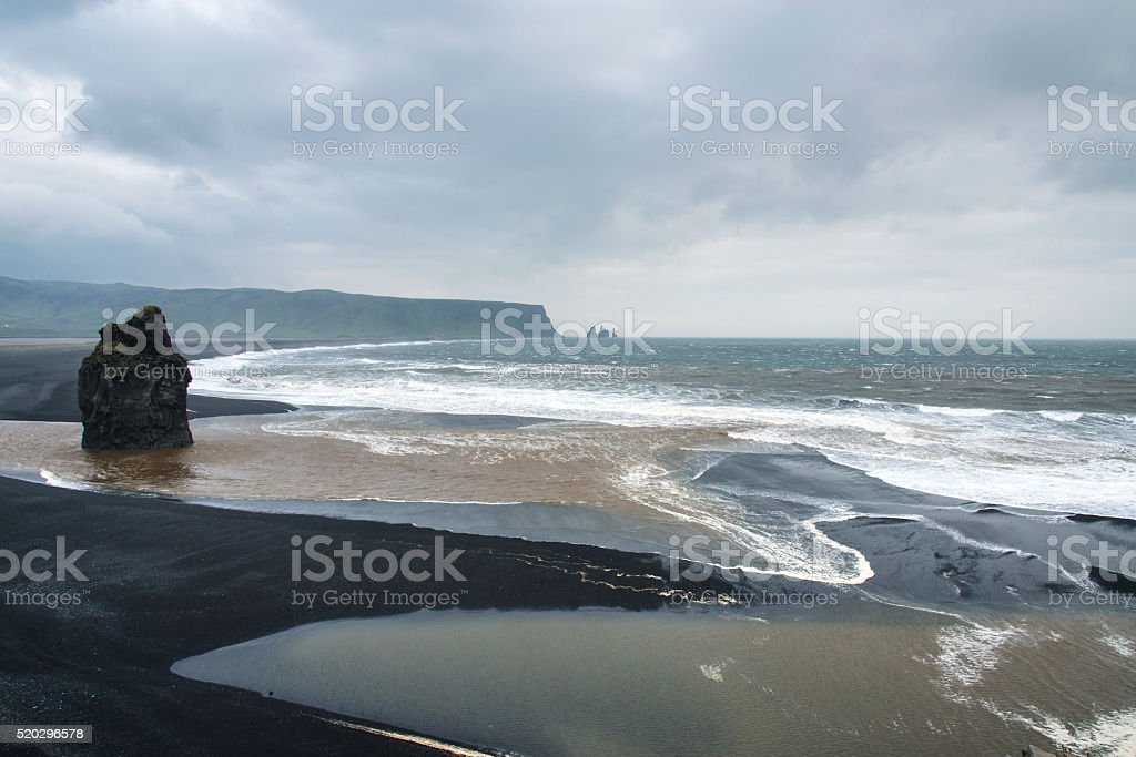 Black sand beach, Vik, South Iceland in winter. stock photo