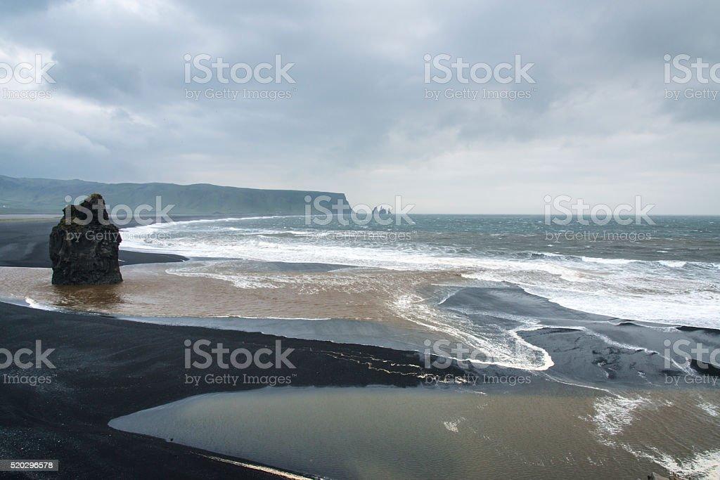 Black sand beach, Vik, South Iceland in winter. stock photo