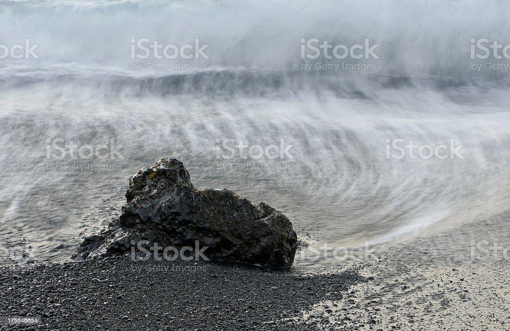 Black Sand Beach Waves stock photo