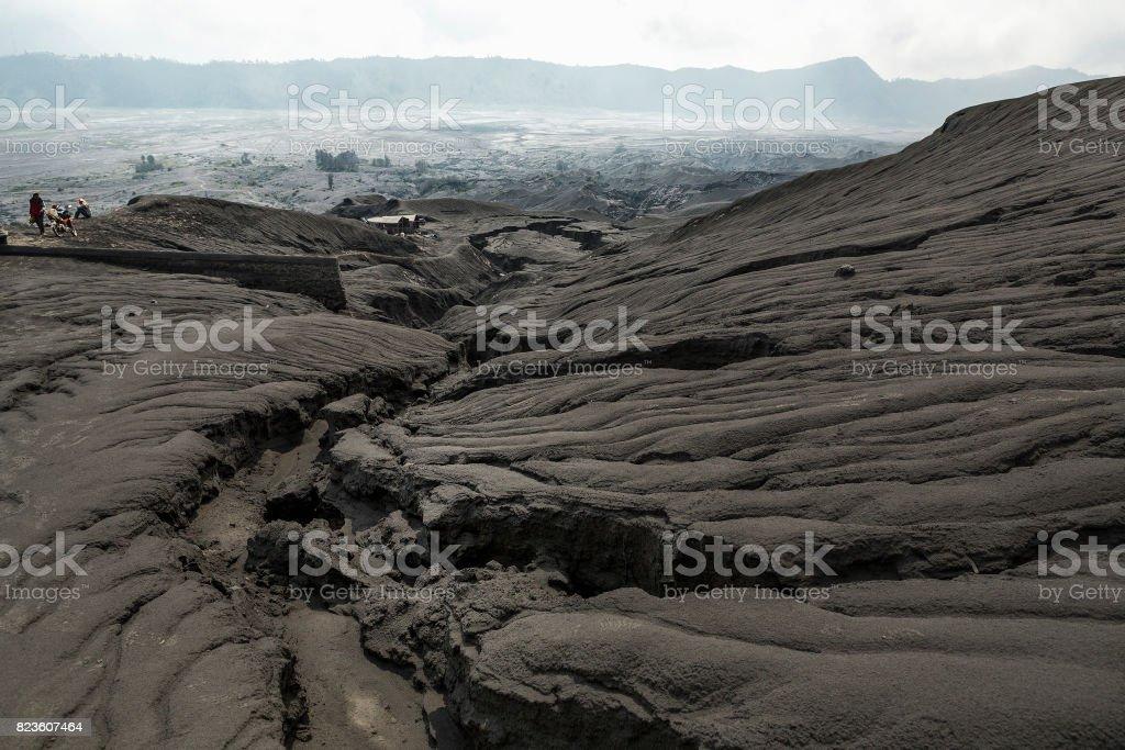 Black sand dune in Mount Bromo Volcano in East Java Indonesia. Bromo Tengger Semeru National Park, East Java, Indonesia stock photo