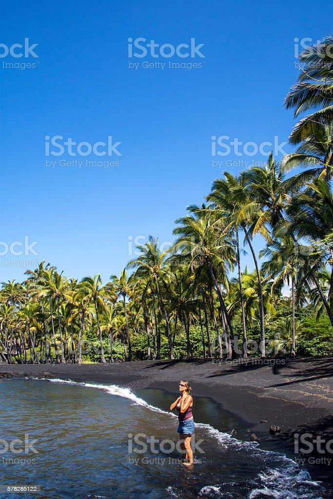 Black sand's beauty stock photo