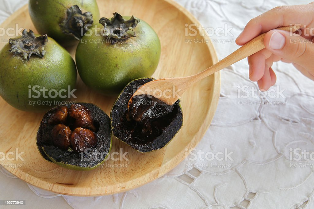 Black Sapote or Chocolate Pudding Fruit stock photo