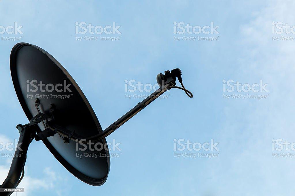 Black satellite dish stock photo