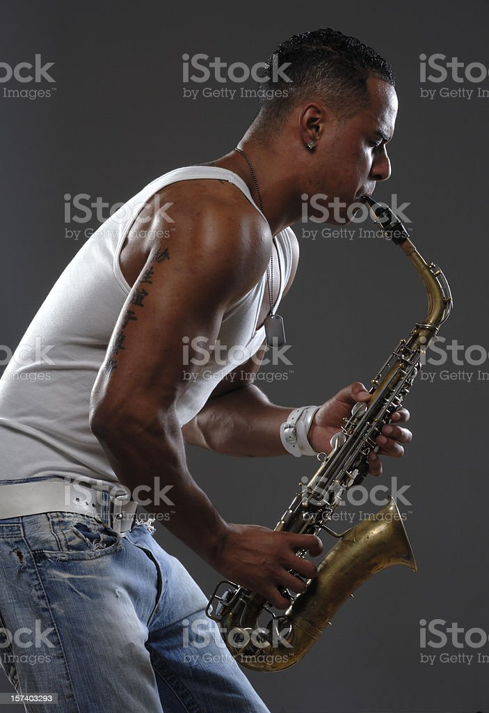 black saxophone player royalty-free stock photo