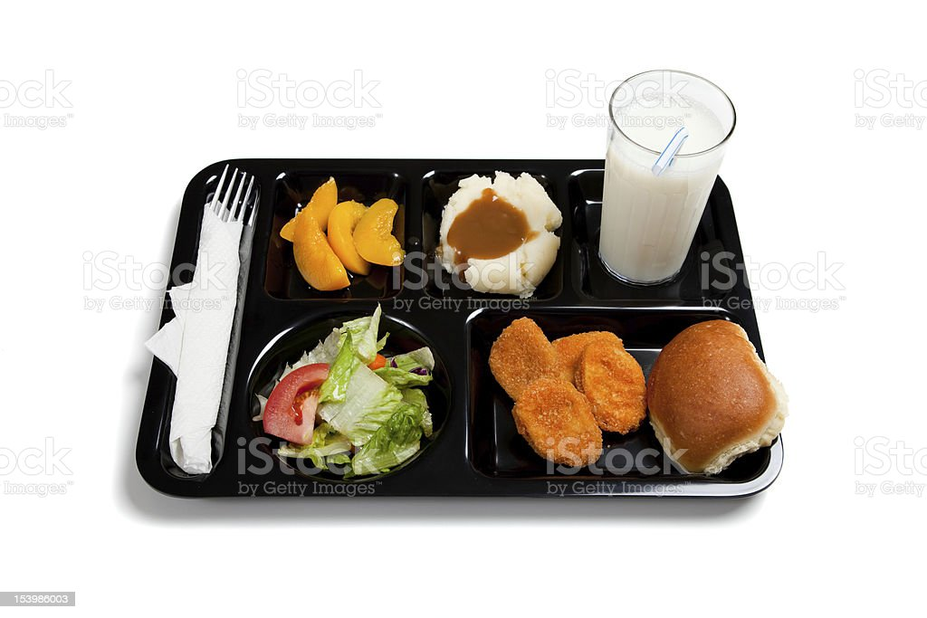 Black school lunch tray on a white background stock photo