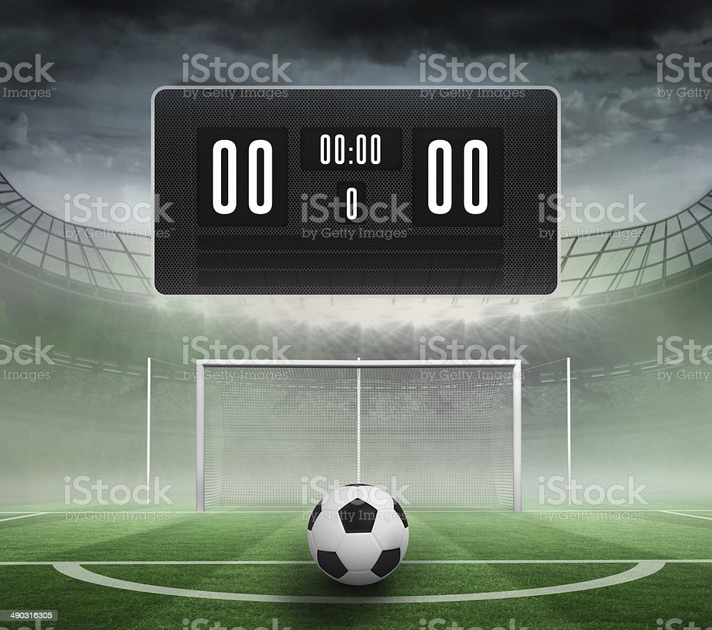 Black scoreboard with no score and football stock photo