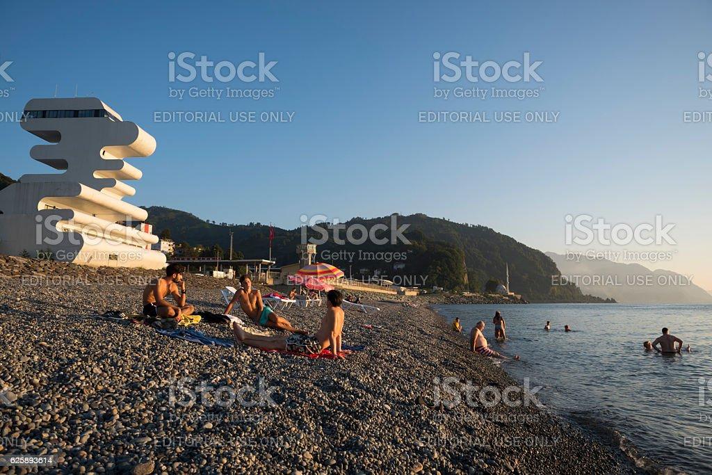 Black Sea beach and Georgia-Turkey border in Sarpi stock photo