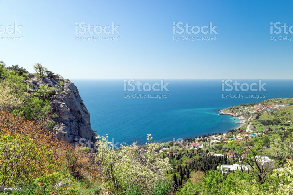 Black Sea - blue lagoon, Crimean resort, view from the mountain-cat stock photo