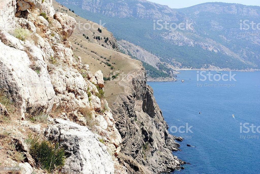 Black sea coast, located on Tarkhankut, Crimea stock photo