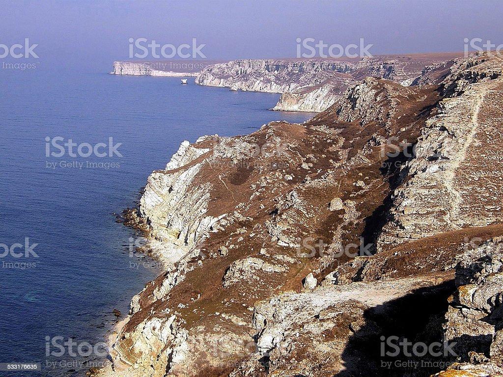 Black sea coast, located on Tarkhankut stock photo