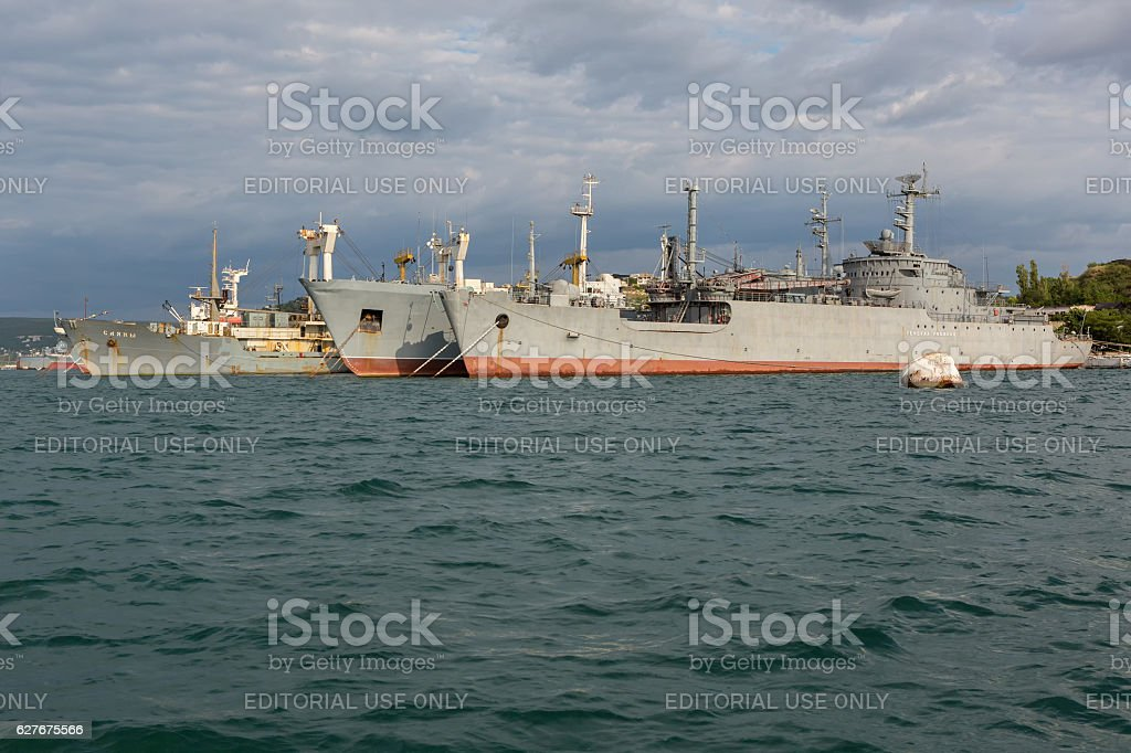 Black Sea Fleet warships are on the quay of the stock photo