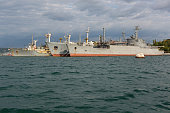 Black Sea Fleet warships are on the quay of the