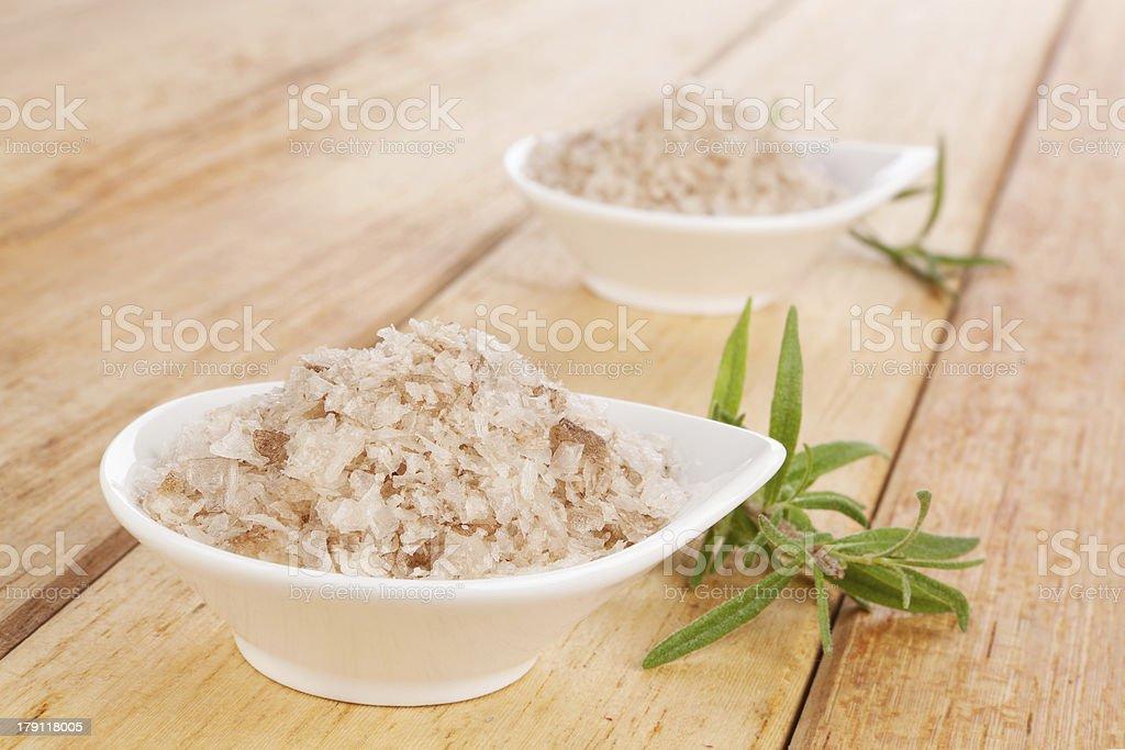 Black sea natural salt flakes. stock photo
