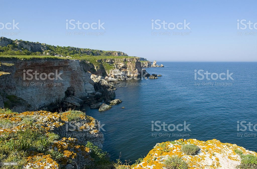 Black Sea shore near Kamen Bryag vllage, Bulgaria. stock photo